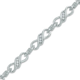 1/4 CT. T.W. Diamond Infinity Link Bracelet in 10K White Gold - 7.25""
