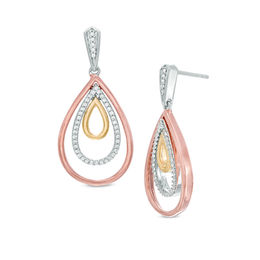1/4 CT. T.W. Diamond Triple Teardrop Earrings in 10K Tri-Tone Gold