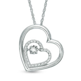 Unstoppable Love™ 1/10 CT. T.W. Diamond Double Tilted Heart Pendant in Sterling Silver