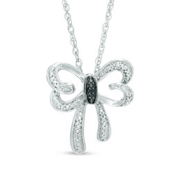 Enhanced Black and White Diamond Accent Butterfly Necklace in Sterling Silver