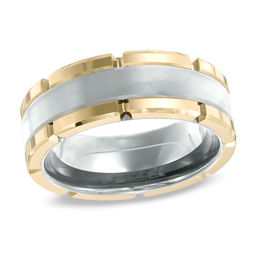 Triton Men's 8.0mm Comfort Fit Two-Tone Tungsten Wedding Band