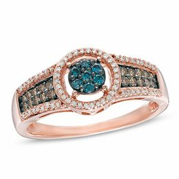 1/3 CT. T.W. Enhanced Blue, Champagne and White Composite Diamond Frame Ring in 10K Rose Gold