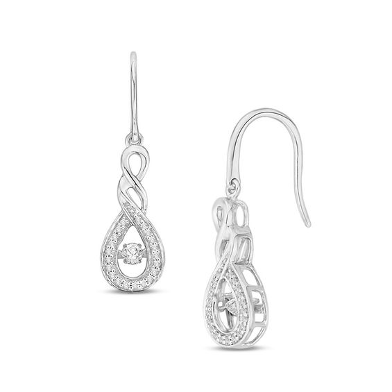 Unstoppable Love 1 4 Ct T W Diamond Infinity Twist Drop Earrings In 10k White Gold Gordon S Jewelers