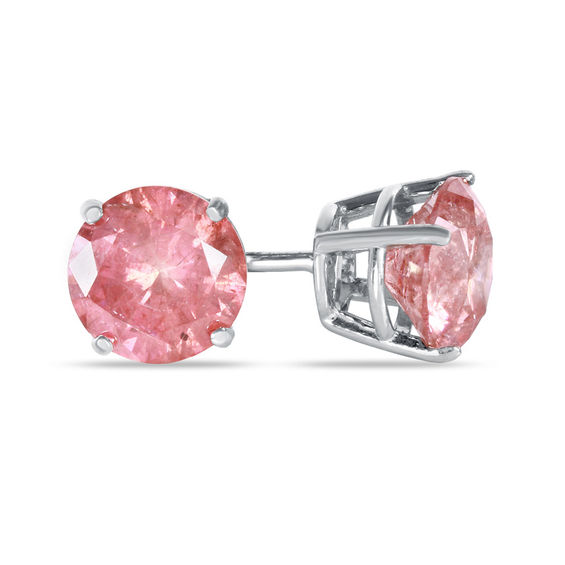 T W Enhanced Pink Diamond Solitaire Stud Earrings In 14k White Gold