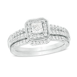 1/2 CT. T.W. Princess-Cut Diamond Cushion Frame Bridal Set in Sterling Silver