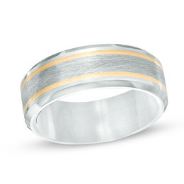 Triton Men's 9.0mm Comfort Fit Grey Tungsten Wedding Band with 14K Gold Stripes