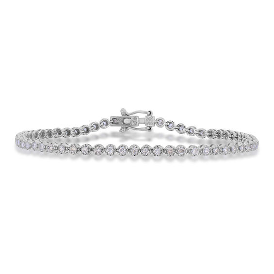 1 Ct T W Diamond Tennis Bracelet In 10k White Gold