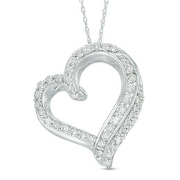 1 CT. T.W. Diamond Double Edge Heart Pendant in 10K White Gold