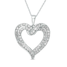 2 CT. T.W. Diamond Crossover Heart Pendant in 10K White Gold