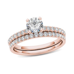 tw diamond bridal set in 14k rose gold - Engagement Ring And Wedding Ring