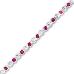 Lab-Created Ruby and White Sapphire Tennis Bracelet in Sterling Silver - 7.25""