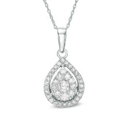 1/2 CT. T.W. Diamond Teardrop Frame Pendant in 10K White Gold