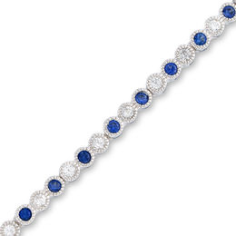 Lab-Created Blue and White Sapphire Tennis Bracelet in Sterling Silver - 7.25""