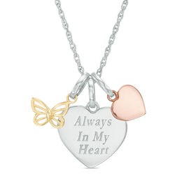 "Three Piece Butterfly, Heart, and ""Always In My Heart"" Charms Pendant in Sterling Silver and 10K Two-Tone Gold"