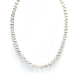 7.0 - 8.0mm Cultured Freshwater Pearl Strand Necklace with 14K White Gold Clasp - 24""