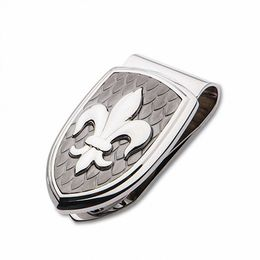 Men's Fleur-de-Lis Carbon Fiber Shield Money Clip in Stainless Steel