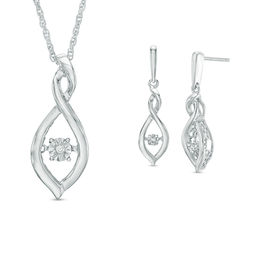 Unstoppable Love™ Diamond Accent Twist Infinity Pendant and Drop Earrings Set in Sterling Silver