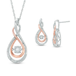 Unstoppable Love™ 1/4 CT. T.W. Diamond Infinity Pendant and Earrings Set in Sterling Silver and 10K Rose Gold