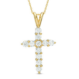 1-1/4 CT. T.W. Diamond Cross Pendant in 14K Gold