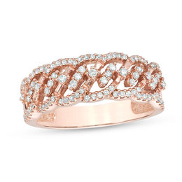 1/3 CT. T.W. Diamond Wave Ring in 10K Rose Gold
