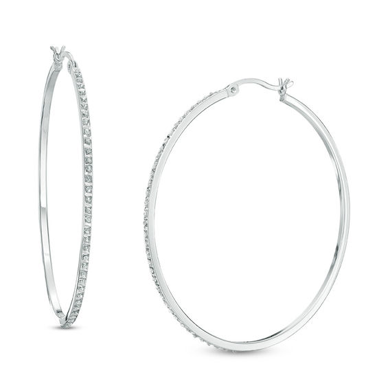Diamond Fascination Large Hoop Earrings In Sterling Silver With Platinum Plate