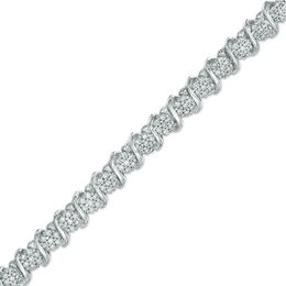 "1 CT. T.W. Diamond ""S"" Tennis Bracelet in Sterling Silver"