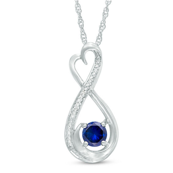 5.0mm Lab-Created Blue Sapphire and Diamond Accent Heart-Shaped Infinity Pendant in Sterling Silver""