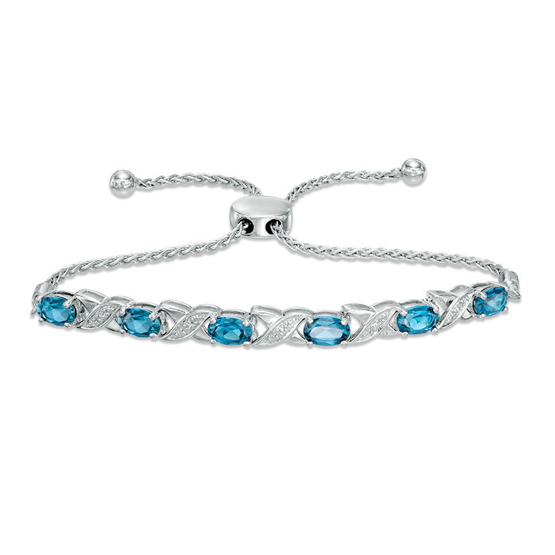 Sky Blue Topaz Silver Steel Heart Bar Bolo Bracelet Adjustable Cttw 2