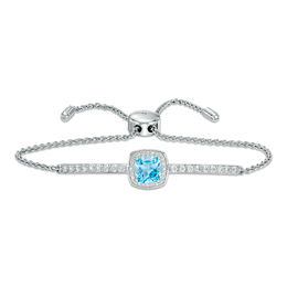 7.0mm Cushion-Cut Swiss Blue Topaz and Lab-Created White Sapphire Frame Bolo Bracelet in Sterling Silver - 9.0""