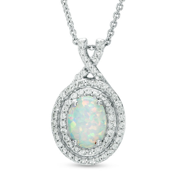 Oval Lab-Created Opal and White Sapphire Double Frame Pendant in ...