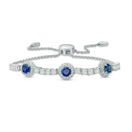 5.0mm Lab-Created Blue and White Sapphire Frame Three Stone Bolo Bracelet in Sterling Silver - 9.0""