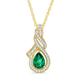 Pear-Shaped Lab-Created Emerald and White Sapphire Cascading Teardrop Pendant in Sterling Silver with 14K Gold Plate