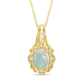 Oval Opal and Diamond Accent Ornate Frame Pendant in 10K Gold