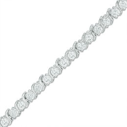 "Lab-Created White Sapphire ""S"" Tennis Bracelet in Sterling Silver - 7.25"""