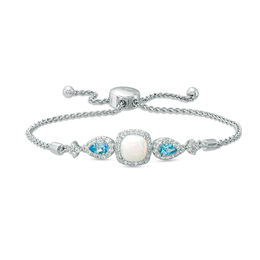7.0m Cushion-Cut Lab-Created Opal and White Sapphire Frame with Swiss Blue Topaz Bolo Bracelet in Sterling Silver - 9.0""