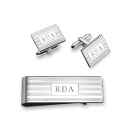 Men's Engravable Money Clip and Cuff Links Set in Sterling Silver (3 Initials)