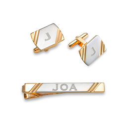 Men's Engravable Tie Bar and Cuff Links Set in Brass and 18K Gold Plate (1-3 Initials)