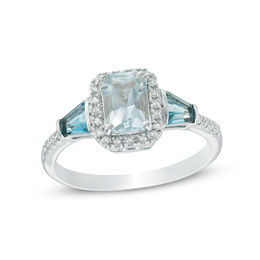 Radiant-Cut Aquamarine, London Blue Topaz and Diamond Accent Frame Ring in Sterling Silver - Size 7