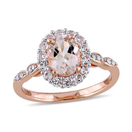 Oval Morganite, White Topaz and Diamond Accent Frame Engagement Ring in 14K Rose Gold