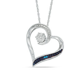 Enhanced Blue and White Diamond Accent Heart Pendant in Sterling Silver