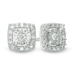1/10 CT. T.W. Diamond Cushion Frame Stud Earrings in Sterling Silver