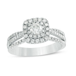 3/4 CT. T.W. Diamond Double Cushion Frame Multi-Row Split Shank Engagement Ring in 14K White Gold