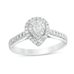 d9cbb806b34f T.W. Pear-Shaped Diamond Double Frame Engagement Ring in 14K