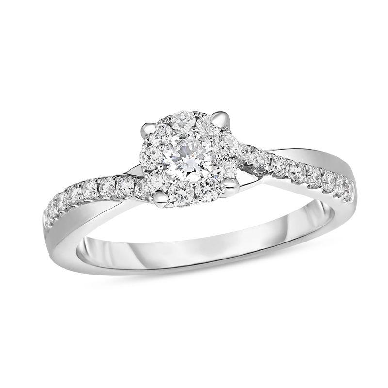 Diamond Love Band Ring 1//12ct 10k White Gold