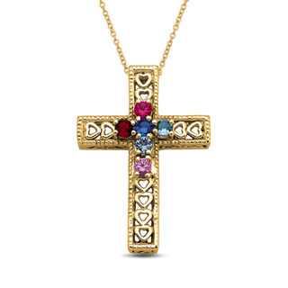 Mother S Birthstone Cross With Hearts Pendant 3 7 Stones