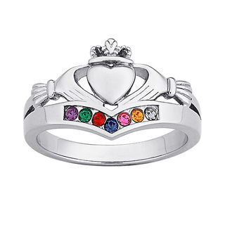 Gordons Credit Card >> Mother's Simulated Birthstone Claddagh Ring in Platinum Plated Sterling Silver (7 Stones ...