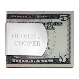 Extra Wide Money Clip in Sterling Silver with Nickel Plate (2 Lines)