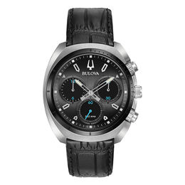 Men's Bulova Curv Chronograph Strap Watch with Dark Grey Dial (Model: 98A155)