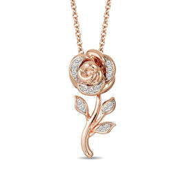 Enchanted Disney Belle 1/10 CT. T.W. Diamond Rose Pendant in 10K Rose Gold - 19""