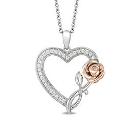Enchanted Disney Belle 1/6 CT. T.W. Diamond Rose and Heart Pendant in Sterling Silver and 10K Rose Gold - 19""